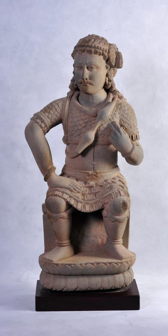 A VERY IMPORTANT AND RARE LARGE GANDHARAN FIGURE OF