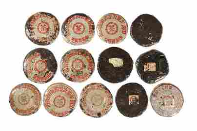 13 Pieces of Pu-er Tea Cake, from 1950s