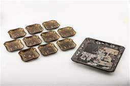 A SQUARE DISH WITH GOLD PAINTED SAUCERS, MING DYNASTY