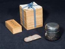 A Set Of Silver Chashaji And Tea Caddy By Kitamu