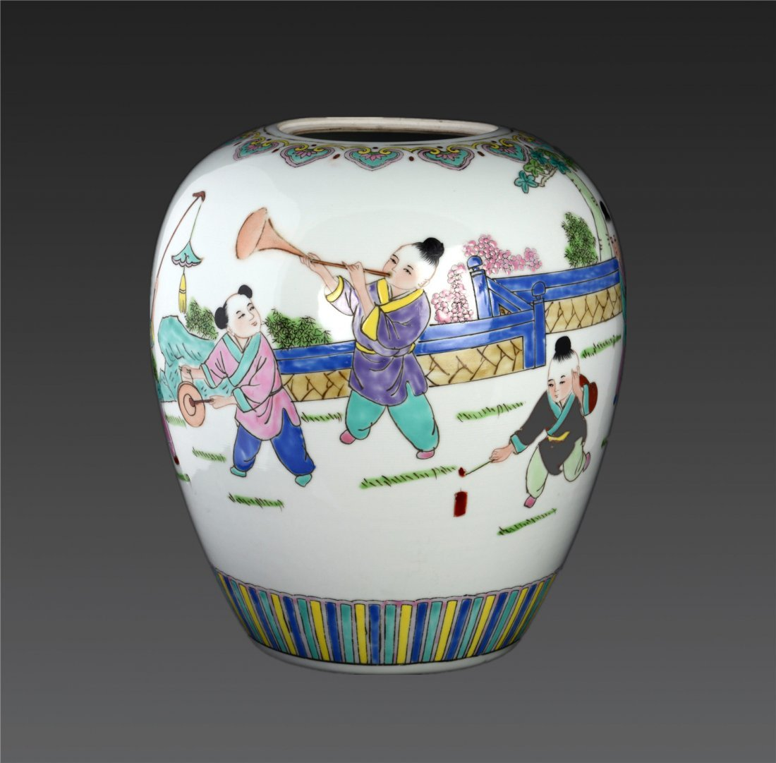 A Famille Rose 'boys At Play' Ovoid Vase Republic Peri