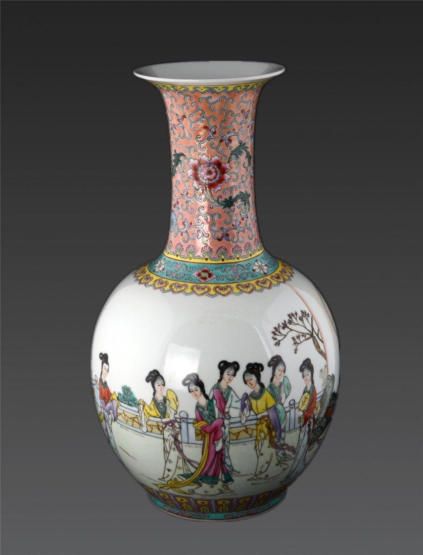 A Famille Rose 'ladies' Vase Qianlong Mark, Republic P