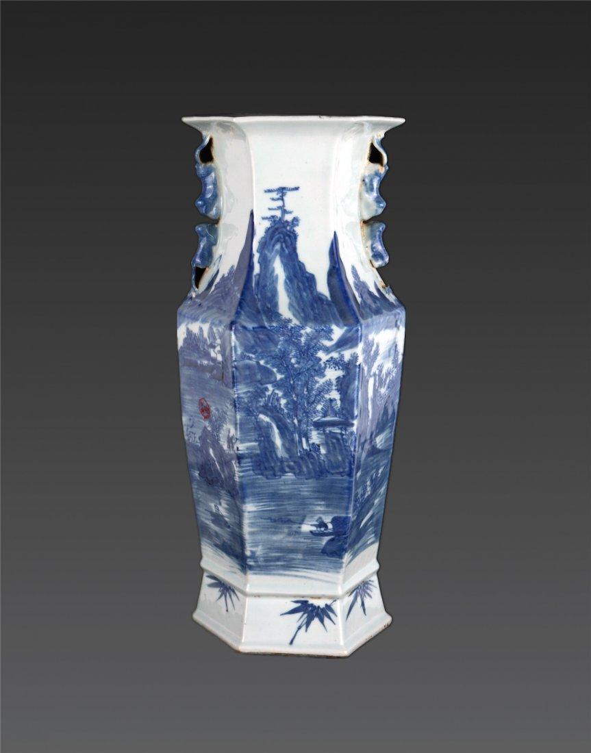 A Blue And White 'landscape' Hexagonal Vase Republic P