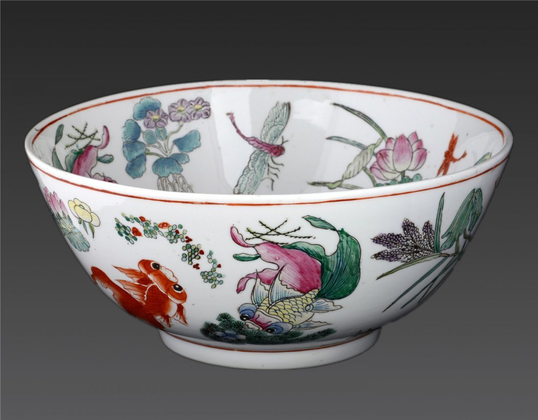A Famille Rose 'flower And Birds' Bowl Guangxu Mark H: