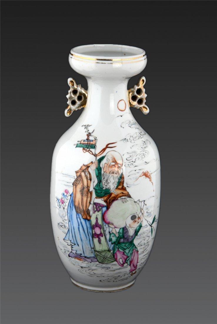 A Famille Rose Two-Handled Figural Vase H: 11cm D: 8cm