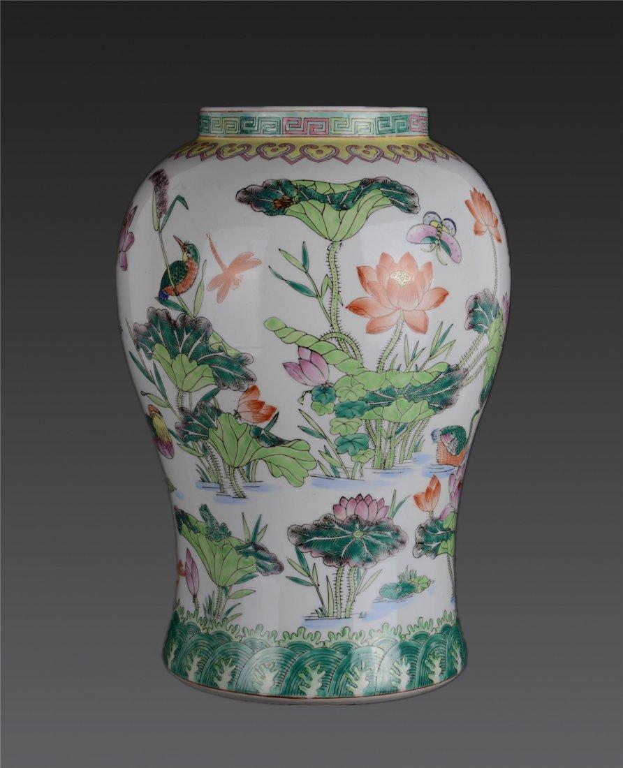 , A Famille Rose 'flower And Birds' Baluster Vase Qing
