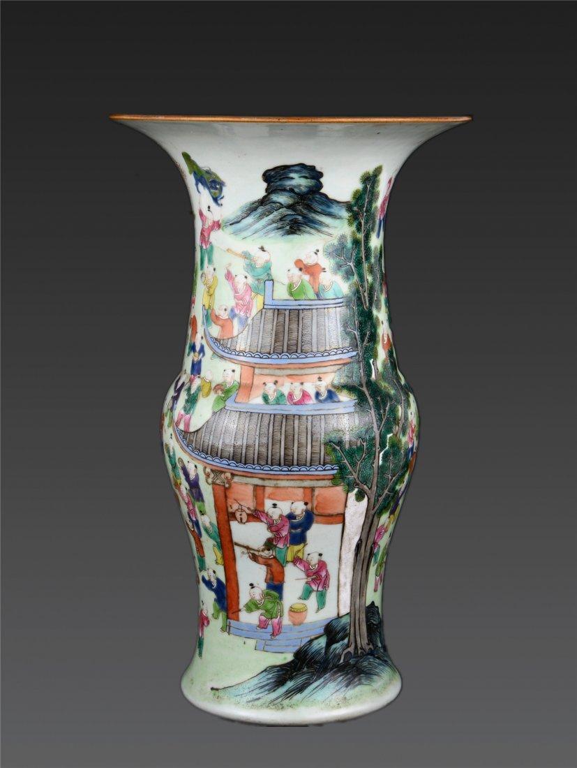A Famille Rose Celadon Glazed Figural Vase Qing Dynast