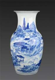A Blue And White Landscape Vase Qing Dynasty, Yongzhen