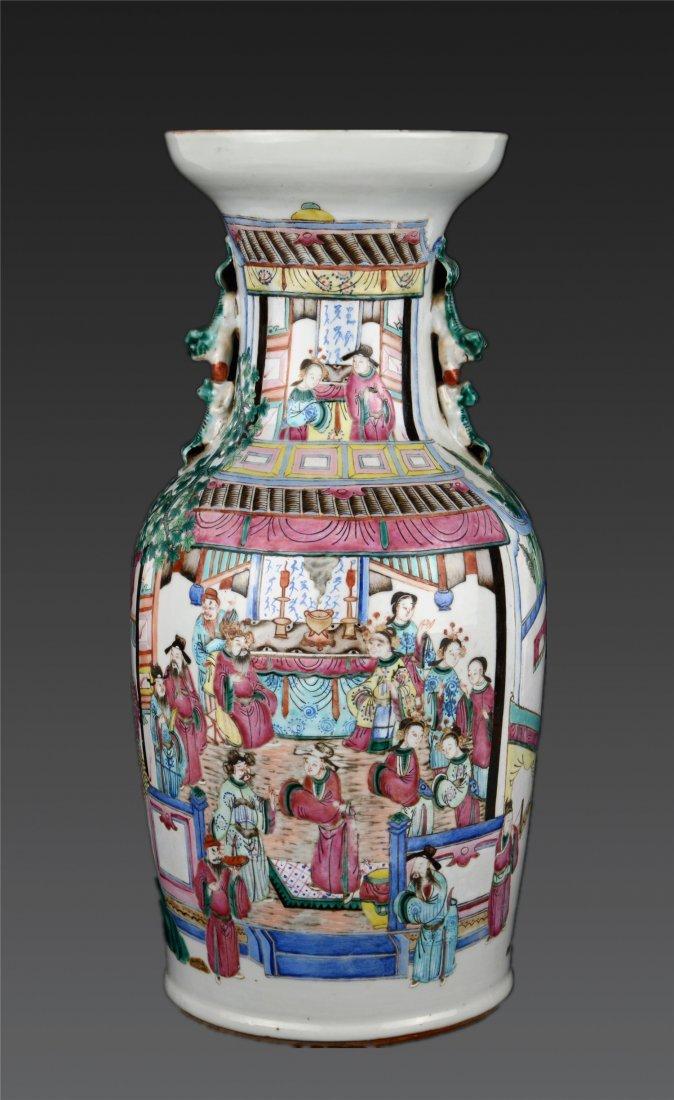 A Famille Rose Four-Handled Baluster Vase Qing Dynasty