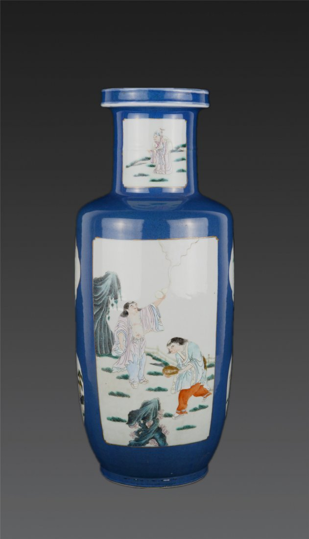 A Famille Rose Blue-Glazed Figural Vase Kangxi Mark
