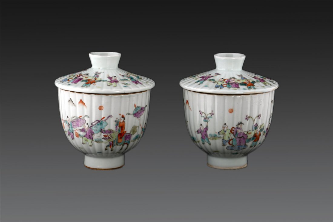 Pair Of Famille Rose Figural Bowls And Covers Late Qin