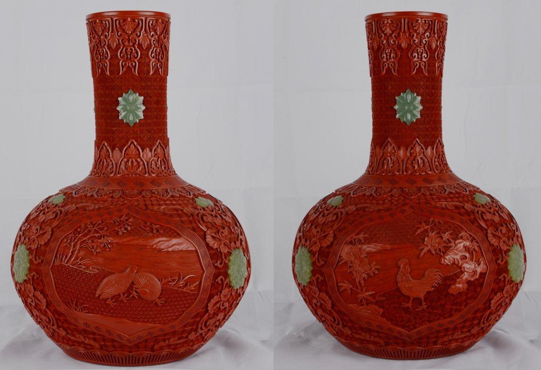 Pair Of Very Rare Jade Inlaid Cinnabar Lacquer Vase La