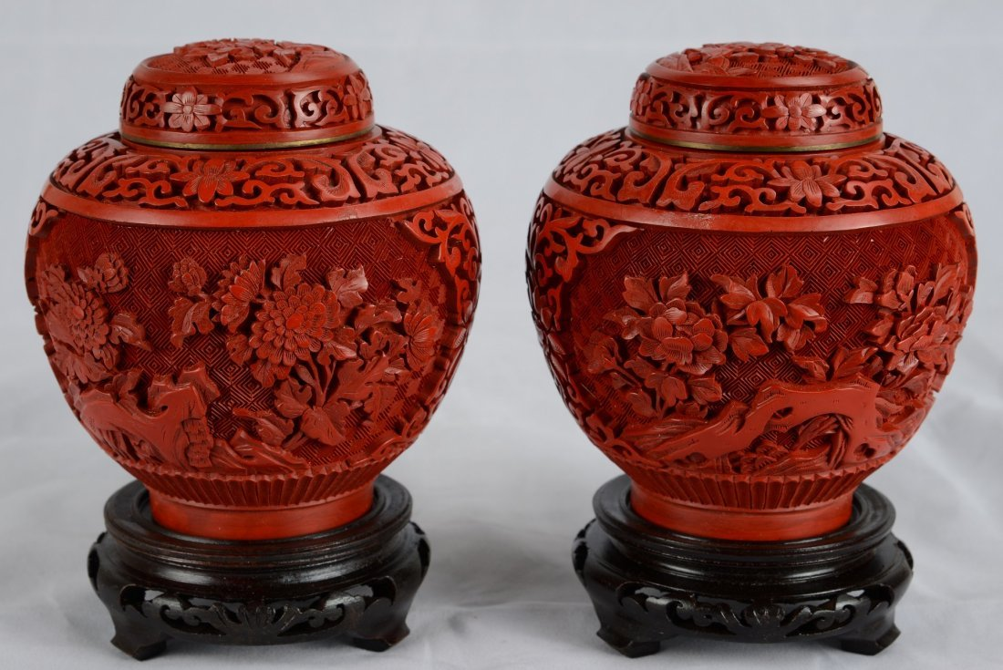 PAIR OF CINNABAR LACQUER JARS WITH COVERS