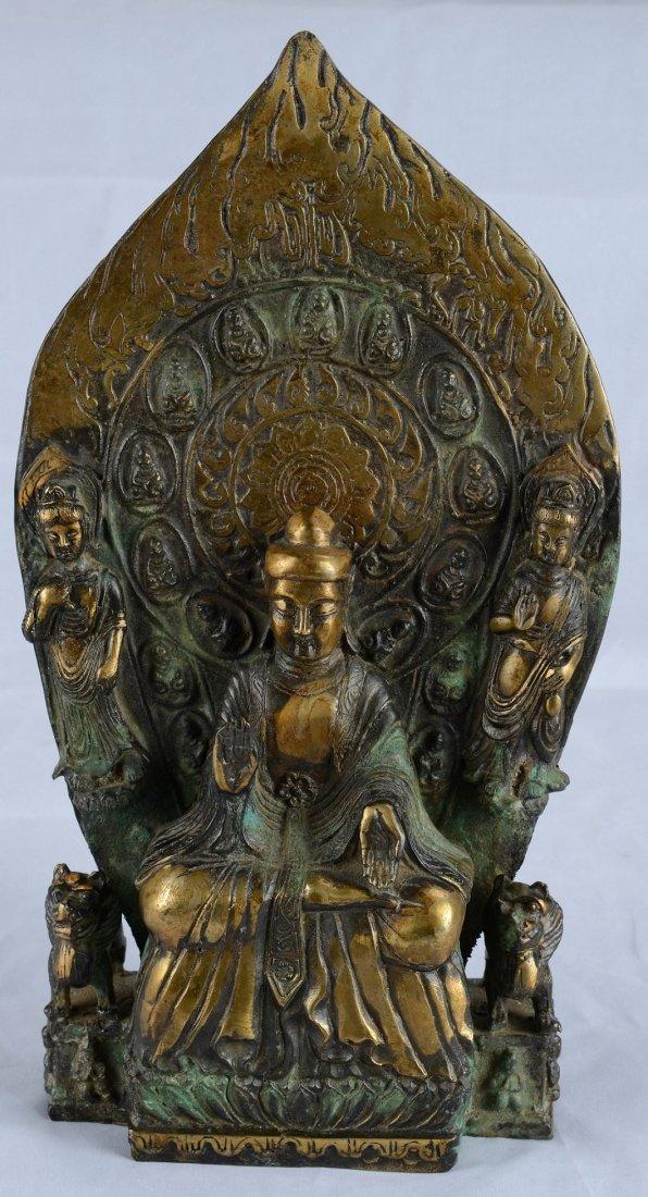 A CAST COPPER FIGURE OF BUDDHA