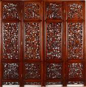 A ROSEWOOD HAND-CARVED WOODEN FOUR-PANEL