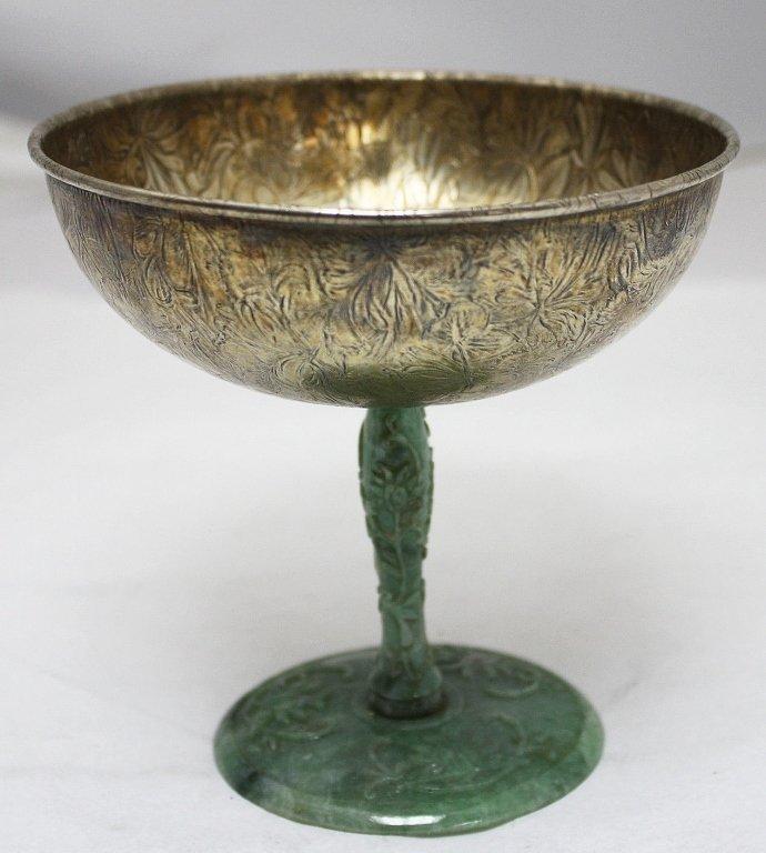 Gorham Sterling & Carved Jade Compote Cup c. 1875