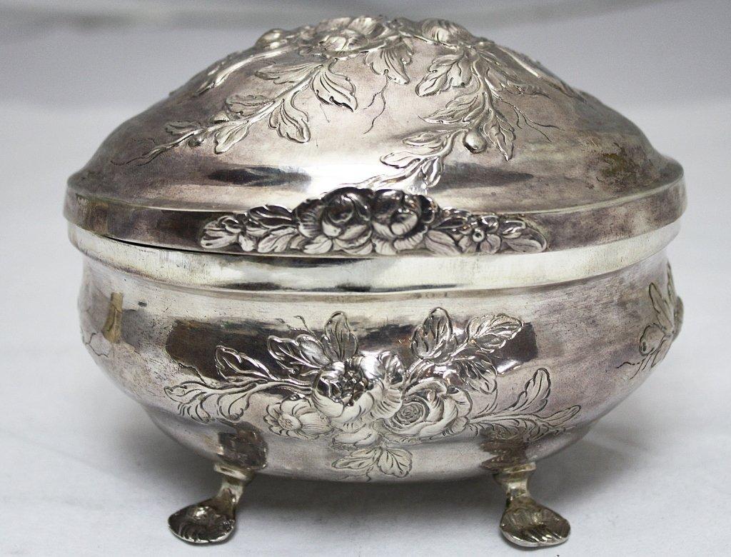 German 18th C. 830 Silver Floral Sugar Box c.1750