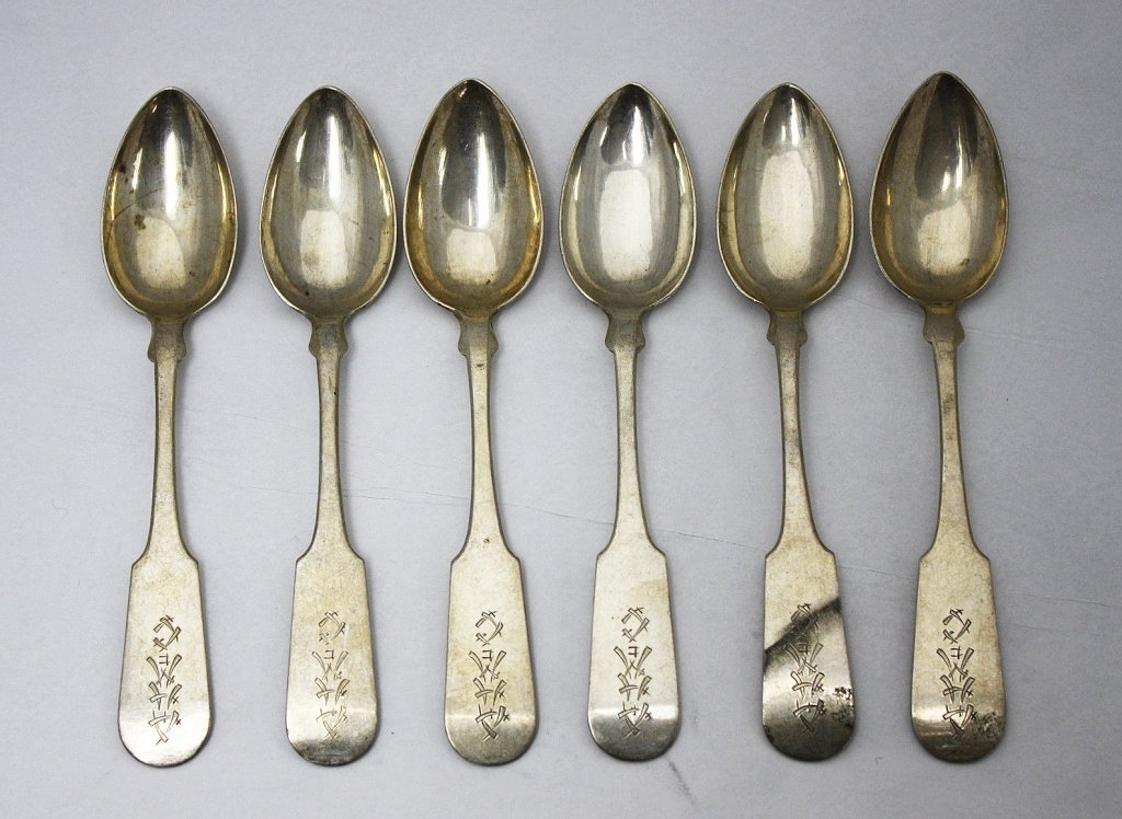6 Chinese Export Sterling Fiddle Tea Spoons c.1820