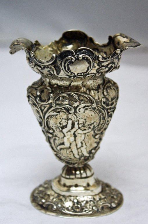 800 Silver Labors of Cupid German Posy Vase c.1850