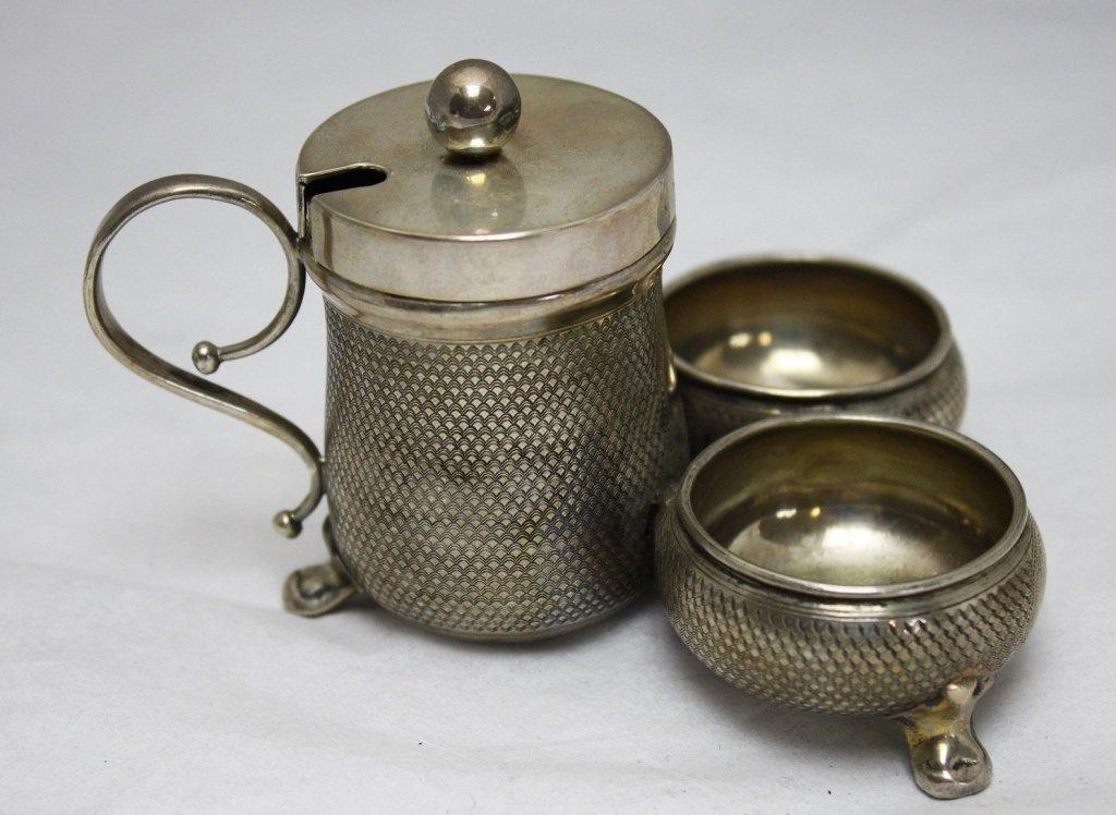 German 13 Loth Silver Mustard Pot Salt Pepper Bowls
