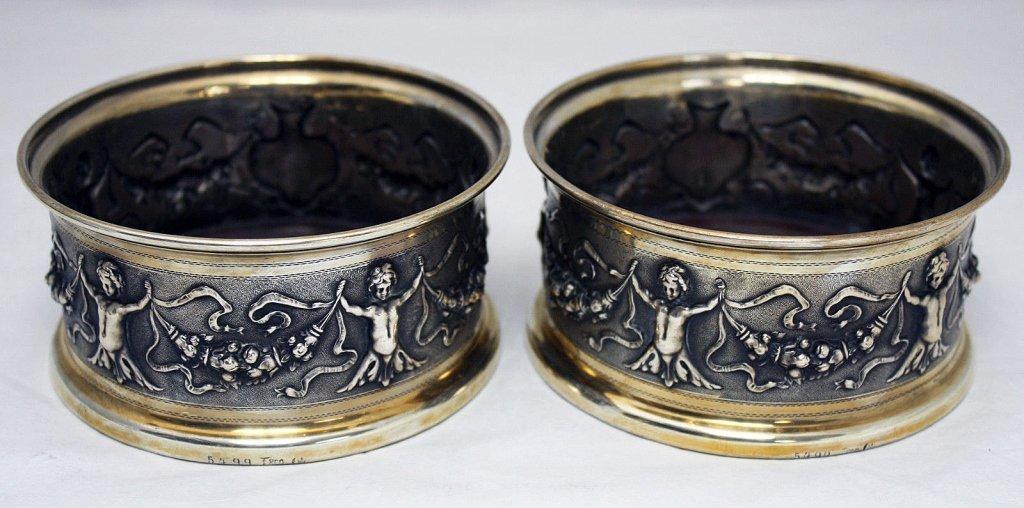 Pair 2 German 800 Silver Ornate Coasters c. 1880