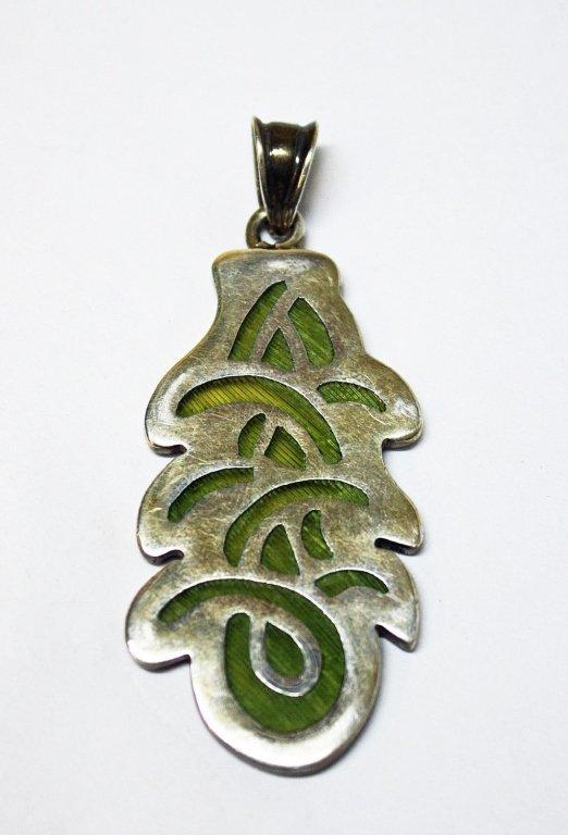 Mexican Plique a Jour Sterling Green Glass Pendant
