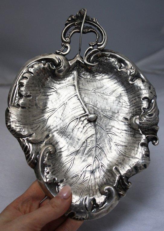 German 830 Silver Figural Leaf Card Tray 19th C.