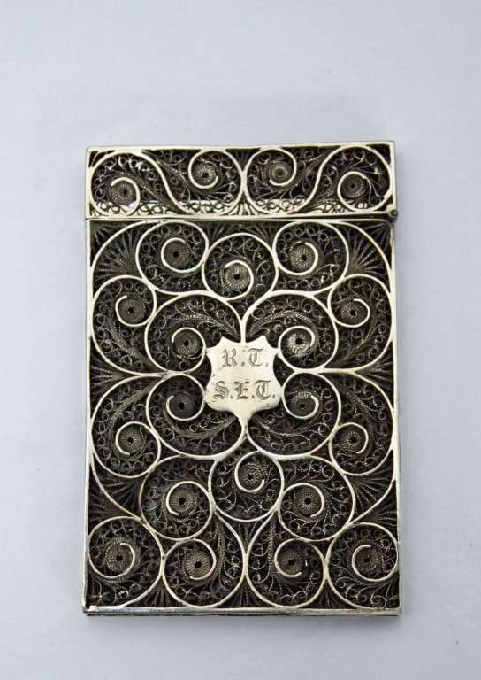 Imperial Chinese 19c Sterling Filigree Card Case c.1870