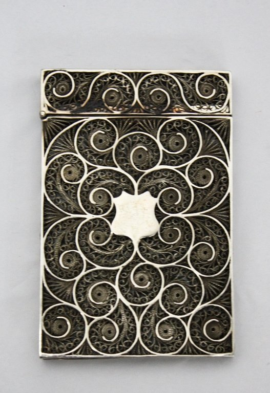 Imperial Chinese 19c Sterling Filigree Card Case c.1870 - 3