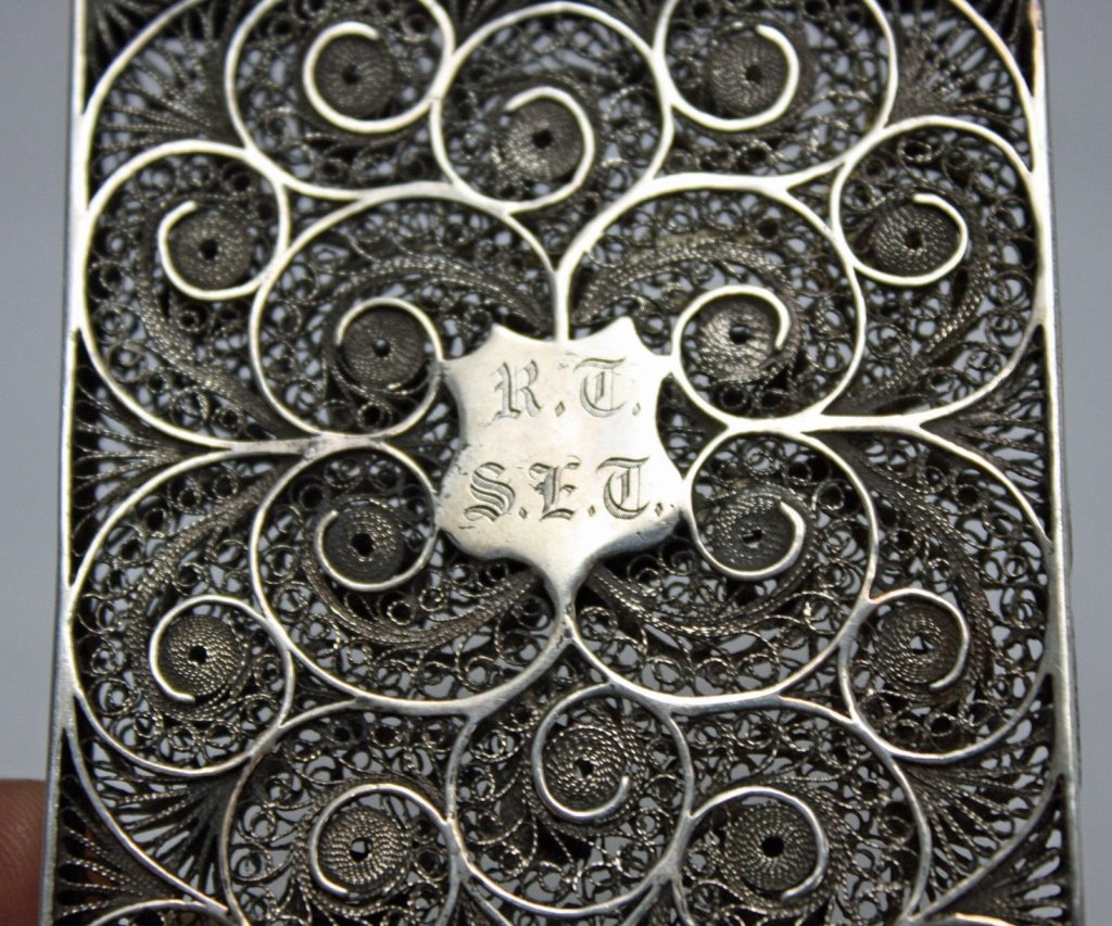 Imperial Chinese 19c Sterling Filigree Card Case c.1870 - 6