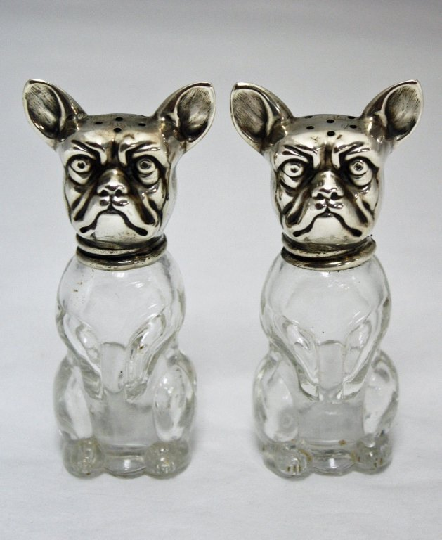 Pair 800 Silver & Glass Dog Shaped Salt Pepper Shakers