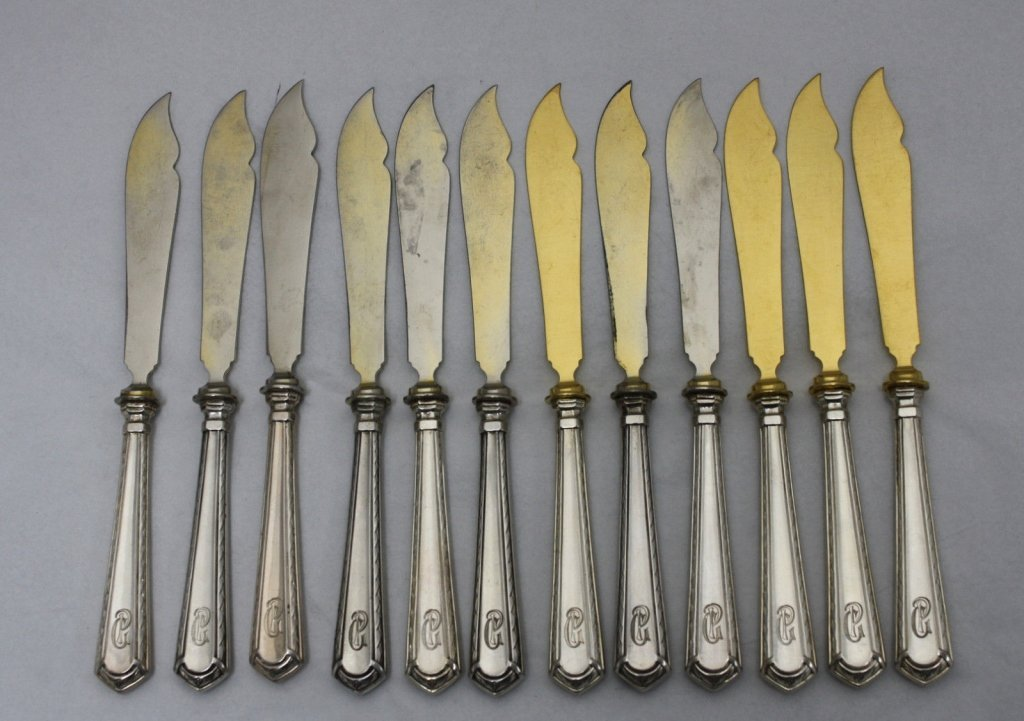 12 German 800 Gilt Silver Art Deco Cheese Knives
