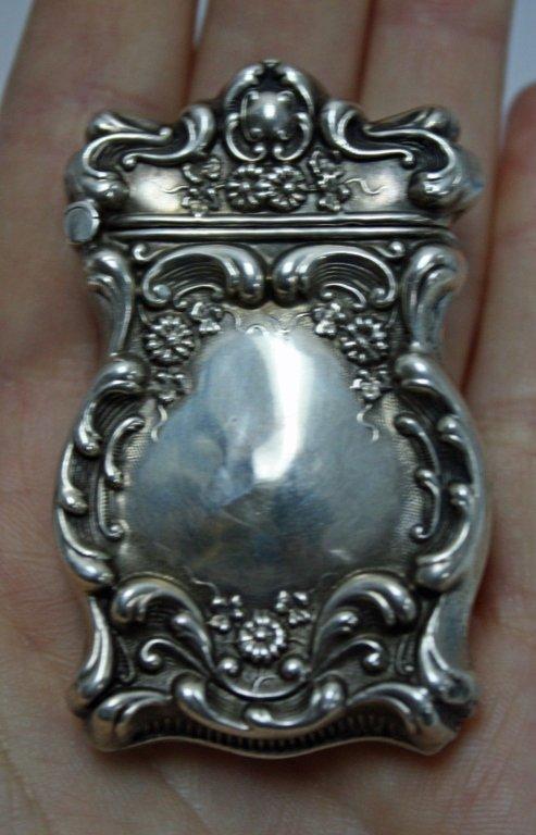 Sterling Vesta Match Safe Case w Striker c. 1890 - 3