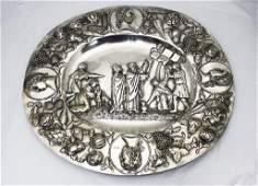 Large German Continental Silver Judaica Platter