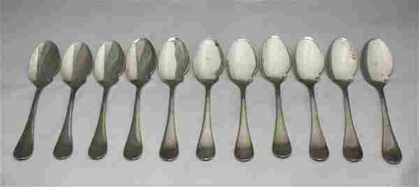 Set 12 French Christofle Silver Sauce Spoons
