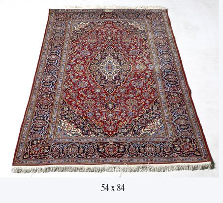 Antique Persian Kashan Rug Made By Shadsar Family