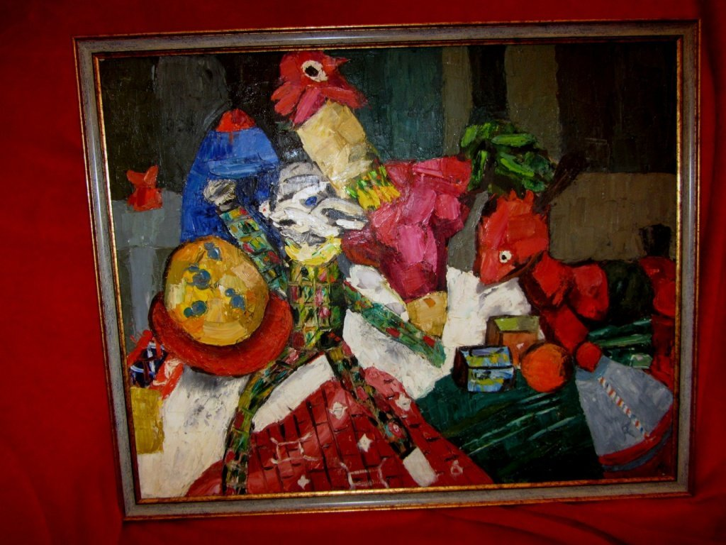 Oil painting on canvas Harlequin Rooster Russian Style