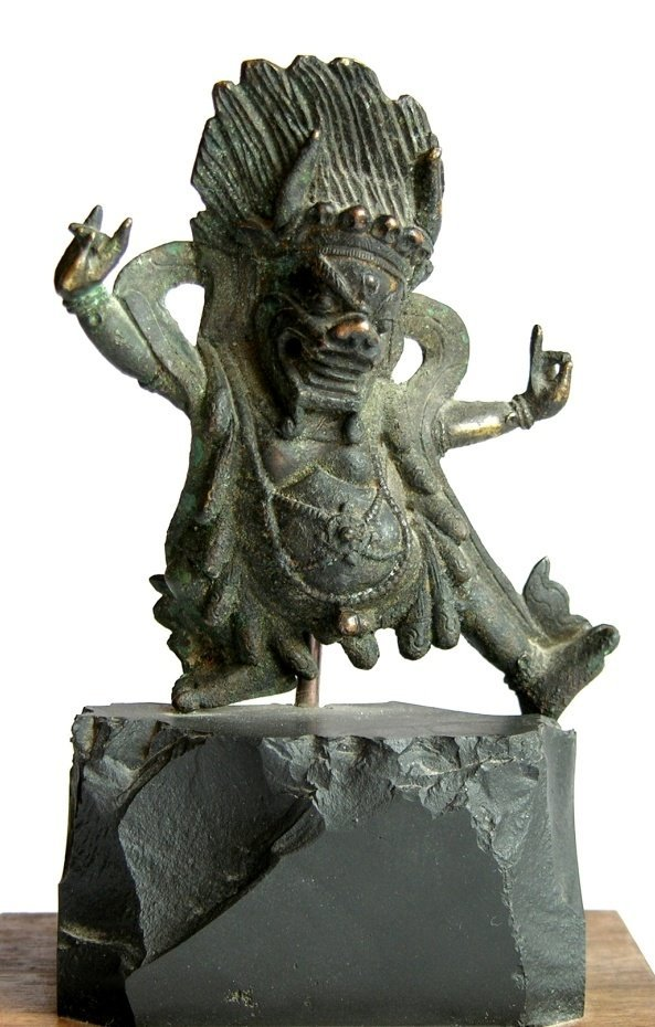 Antique Chinese Tibet Gilt Bronze Figure Of Mahakala