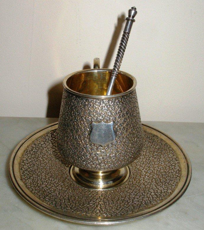 Antique Russian Silver CUP SAUCER set Gustav KLINGERT