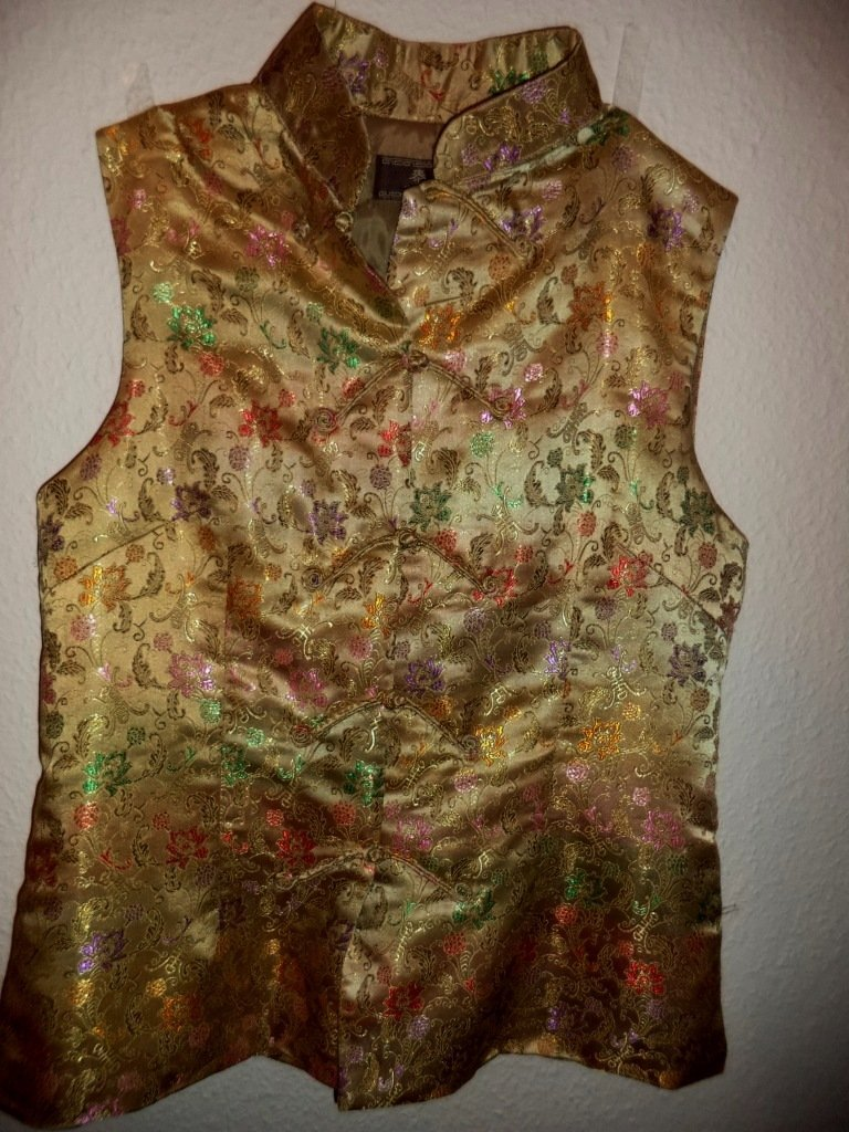 CHINESE EMBROIDERED SILK GOLD Woman Dress