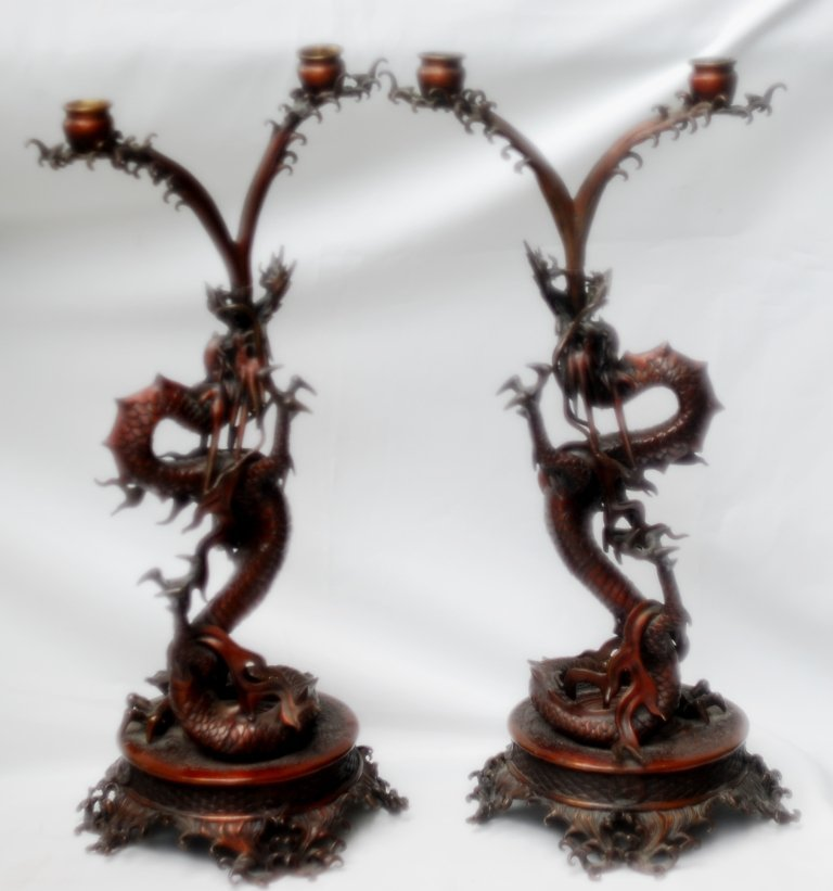 Large 19th C japanese bronze Dragon 2 light pair candle