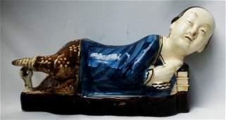 Antique Asia  Blue porcelain Figure early 19th Century