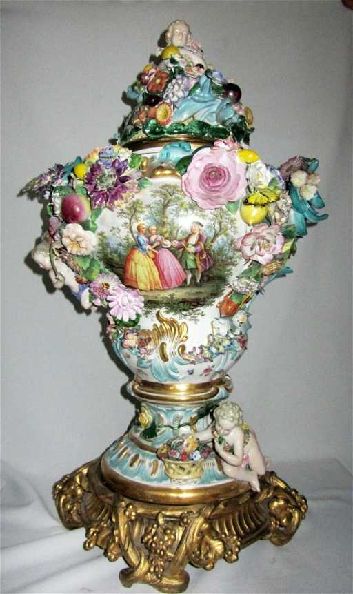 Large Meissen Flower Encrusted Vase Cover And Stand