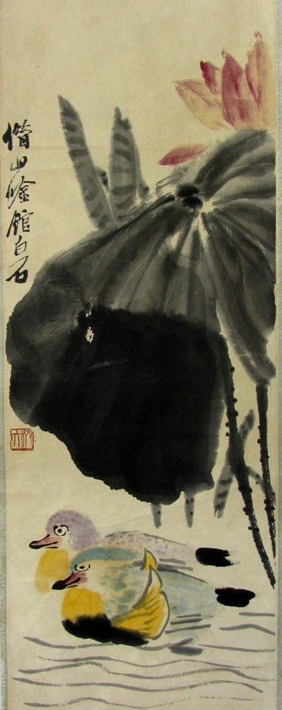 ORIGINAL PAINTING BY QI BAISHI 1864-1957 MANDARIN DUCKS