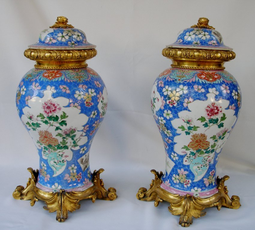 Antique Pair Chinese Famille Rose porcelain vase bronze