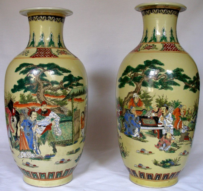 Antique Pair late Qing Period Porcelain Vases