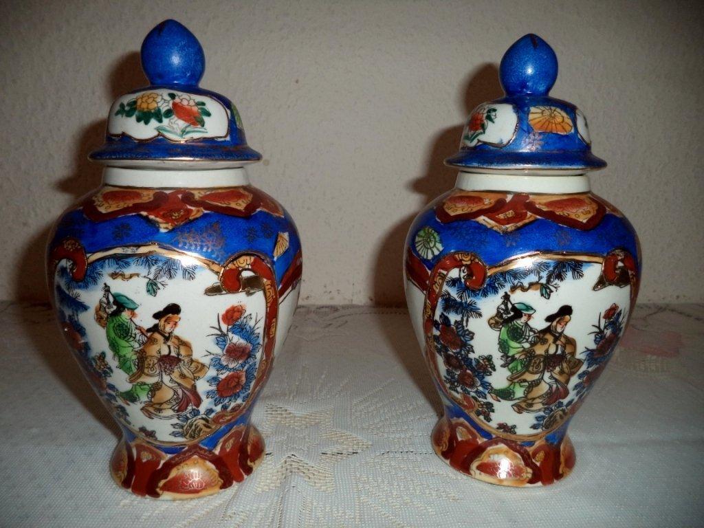 Pair Chinese Porcelain Covered Jar Zhong Guo Zhi Zao