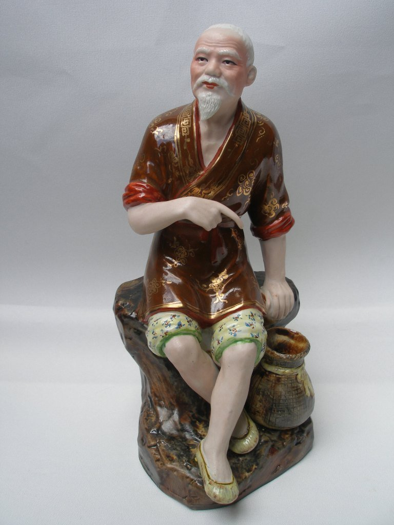 Chinese  Porcelain Buddha Figurine hand painted