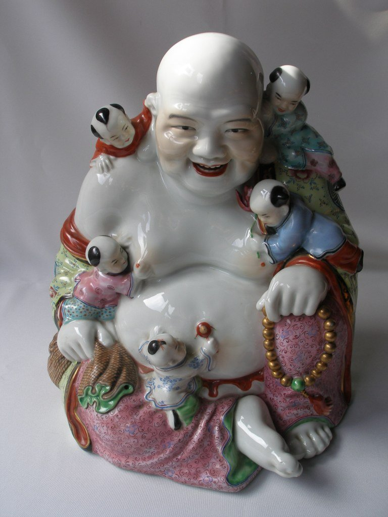 Famille Rose Porcelain Happy Buddha with Children