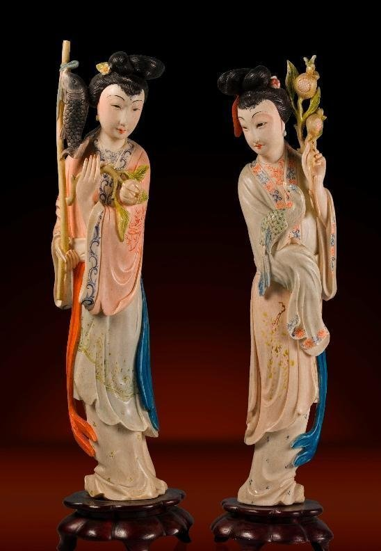 PAIR CHINESE IVORY LADIES CULTURAL REVOLUTION PERIOD